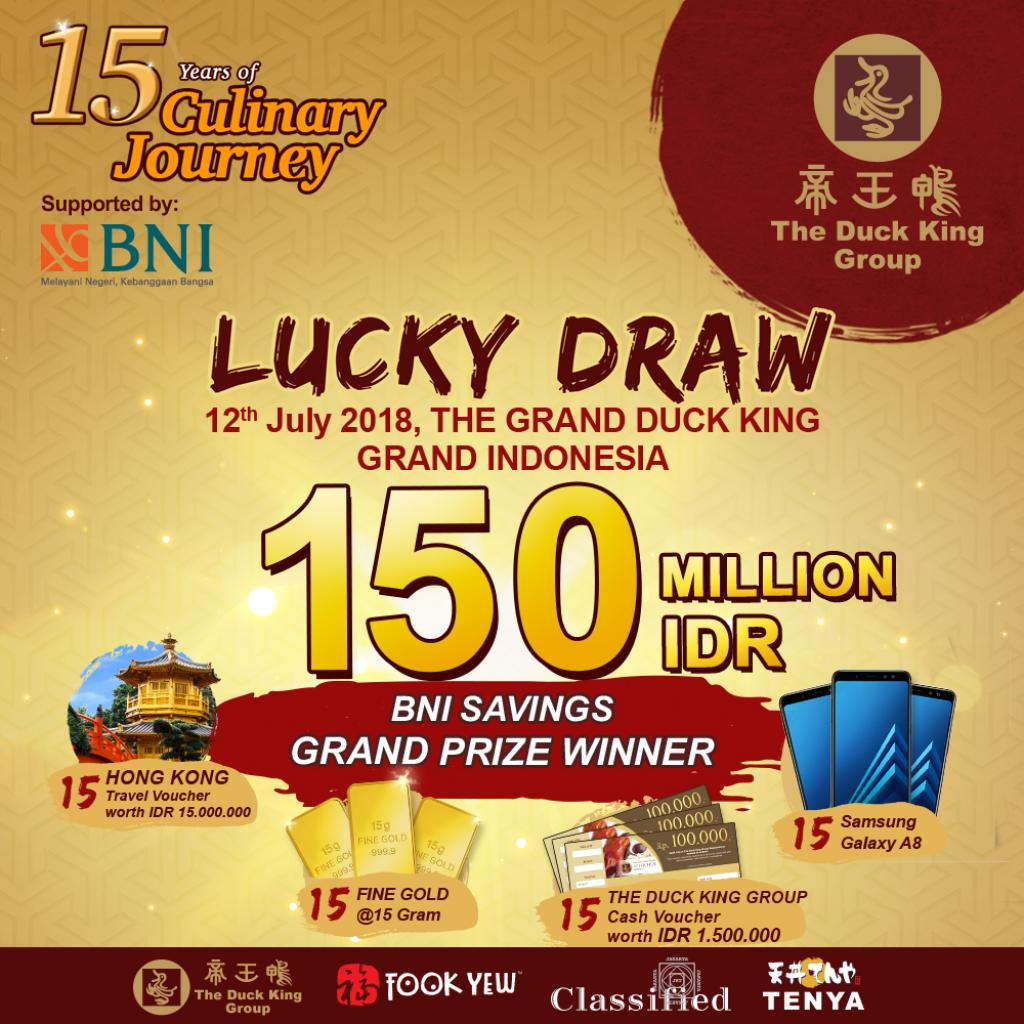 Winner 15 YEARS OF THE DUCK KING GROUP CULINARY JOURNEY LUCKY DRAW